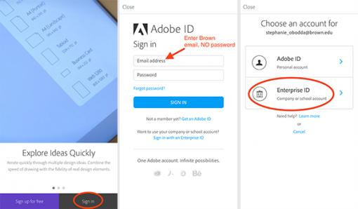 Log into an Adobe Creative Cloud Mobile App at Brown - Knowledgebase