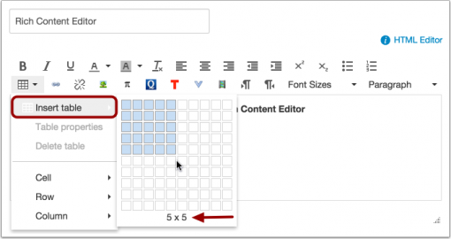 Create a Table in Canvas - Knowledgebase / Teaching Learning