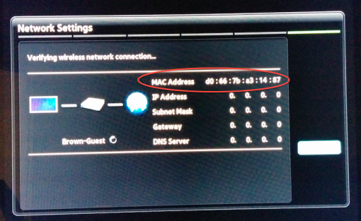 samsung tv back. 4. at this point, some smart tvs will show you a screen with the mac address. if not, go back to menu and choose network \u003e status. samsung tv